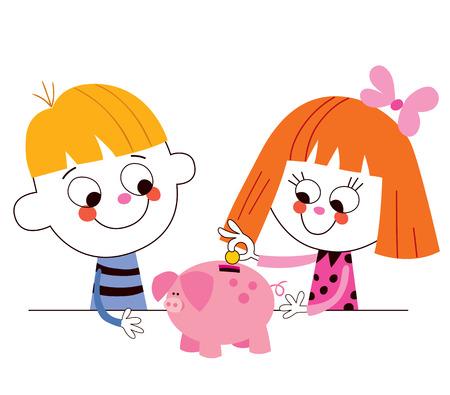cerdo caricatura: niño y niña con un ahorro hucha para niños