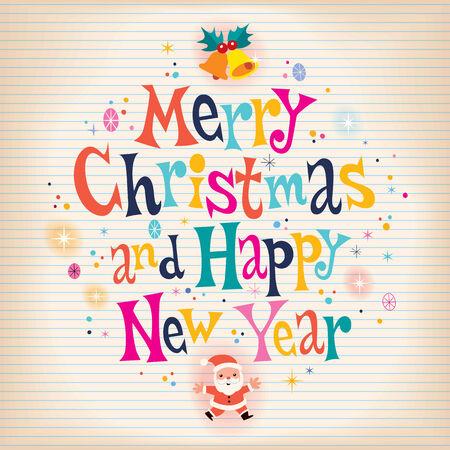muerdago navideÃ?  Ã? Ã?±o: Tarjeta de felicitación de papel envejecido retro Feliz Navidad y Feliz Año Nuevo