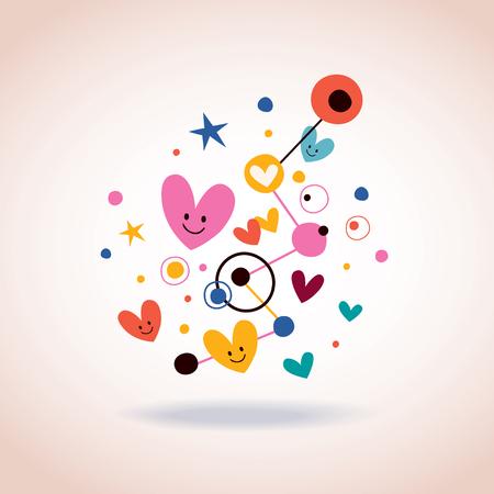 arte abstracto: ilustraci�n abstracta del arte con corazones y puntos lindos