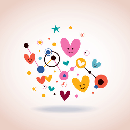 abstract art illustration with cute cartoon hearts and dots Vector