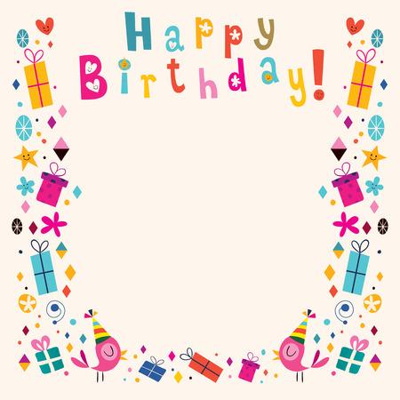 Joyeux anniversaire rétro carte de frontière Banque d'images - 32044778