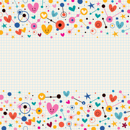 connect the dots: Hearts, dots and stars funky note paper retro background