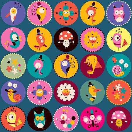 flowers, birds, mushrooms & snails characters circles pattern Vector