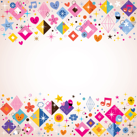 diamonds, stars, dots and hearts funky background