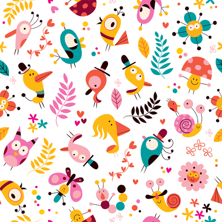 flowers, birds, mushrooms & snails characters nature pattern Vector