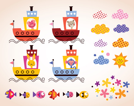 cute animals in boats kids design elements set Vector