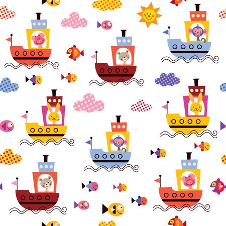 cute animals in boats kids sea pattern Vector