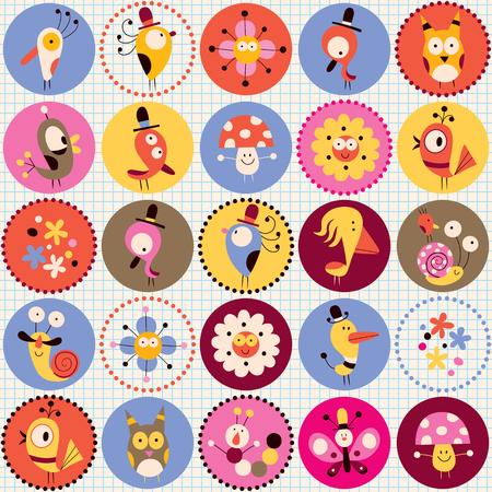 cartoon mushroom: cute characters pattern