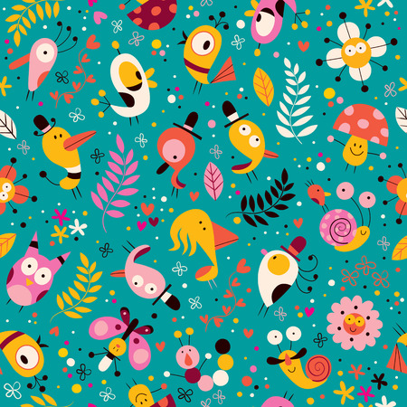 cute characters nature pattern  イラスト・ベクター素材
