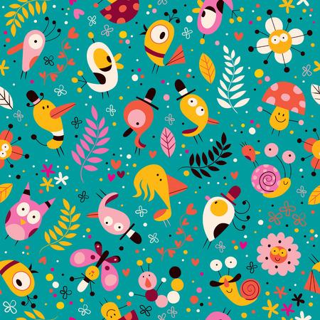 cute characters nature pattern Иллюстрация