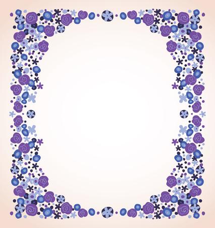 flower vintage: blue violet flowers frame isolated