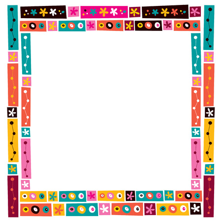 border cartoon: flowers collage decorative frame border