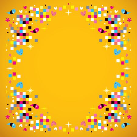 fun pixel squares frame border background 向量圖像