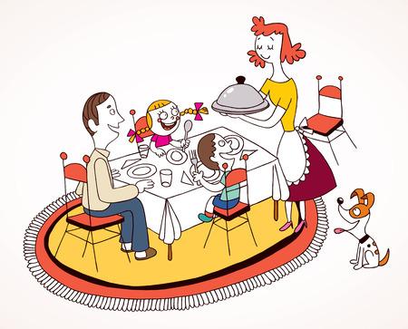 家族の昼食  イラスト・ベクター素材