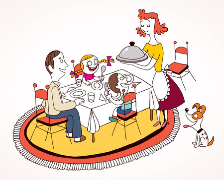 familie lunch Stock Illustratie