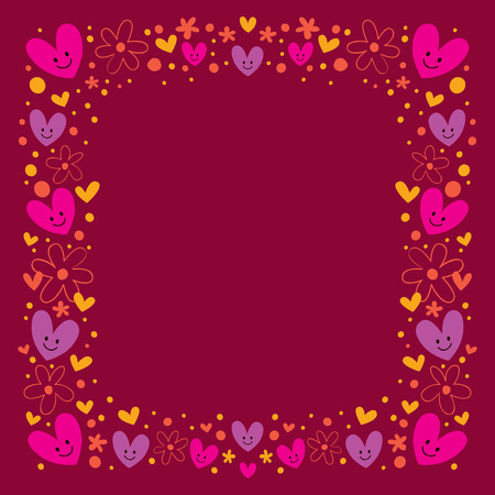 hearts and flowers frame Vector