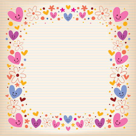hearts and flowers retro frame Vector