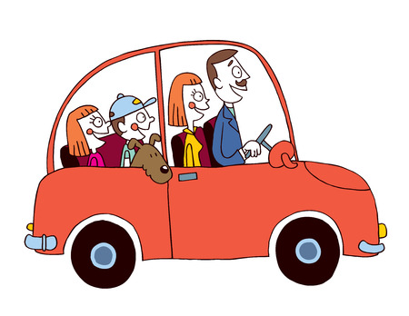 family trip: family car Illustration
