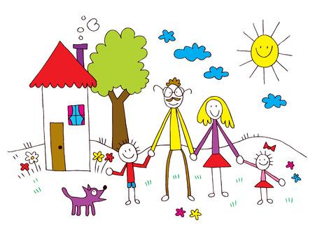 Famille chez les enfants de dessin de style Banque d'images - 32233433