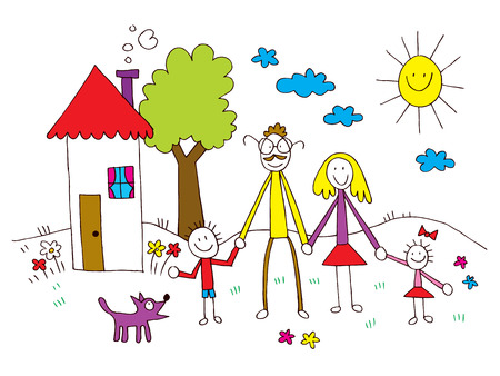 family outside house: family in kids drawing style