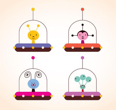 alien face: cute aliens in spaceships kids design elements set