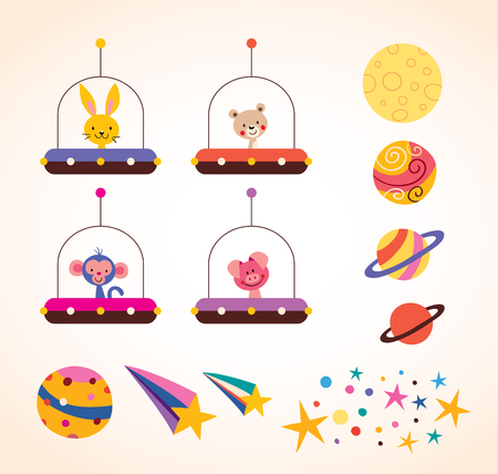 cute animals in space ships kids design elements set Vector
