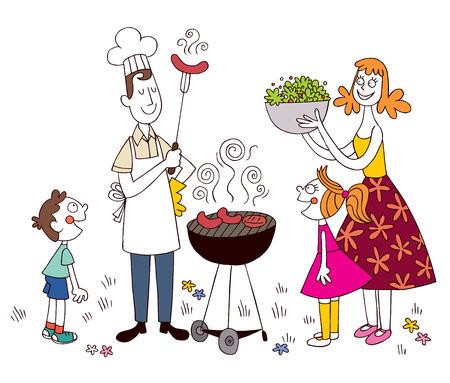 eltern und kind: Familie Grill Illustration