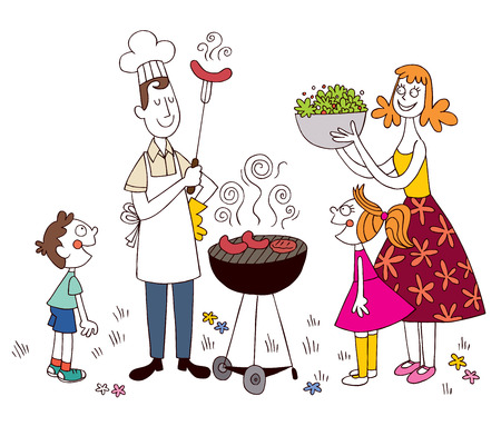 family outside: family barbecue