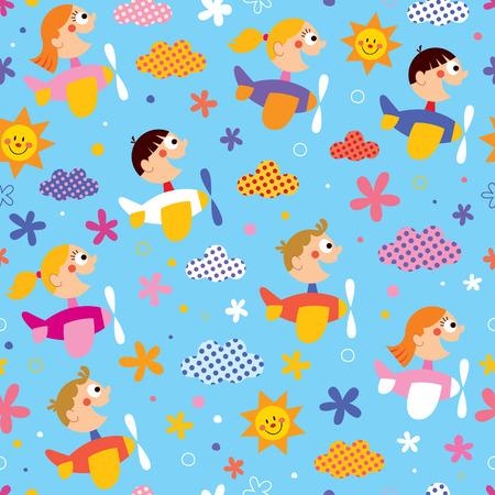children in airplanes pattern Vector