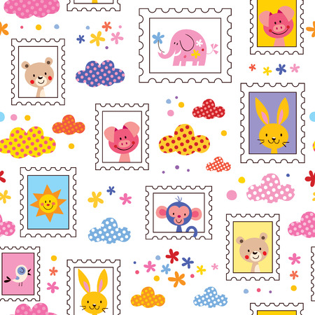 cute baby animals pattern Vector