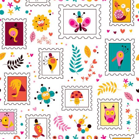 flowers, birds, mushrooms & snails cute characters nature pattern Vector