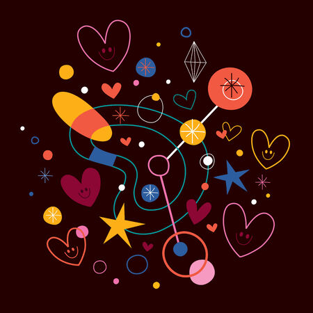 abstract art illustration with cute hearts Vector