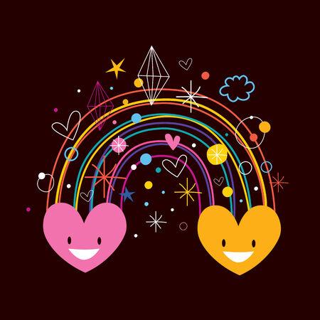 two hearts: rainbow hearts