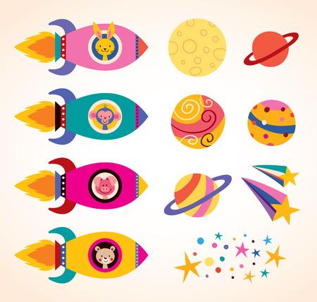 宇宙船の子供でかわいい動物のデザイン要素セット  イラスト・ベクター素材
