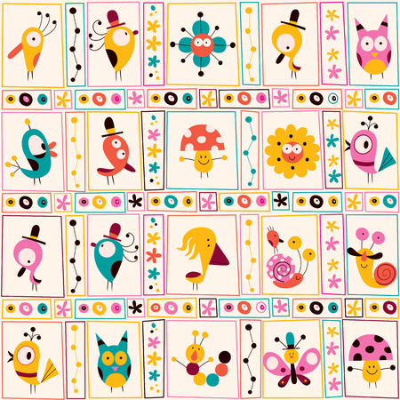 cute characters nature pattern Vector