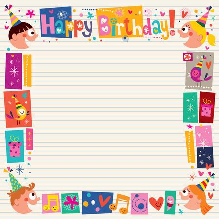 Felices los niños de cumpleaños cenefa decorativa Foto de archivo - 32233492