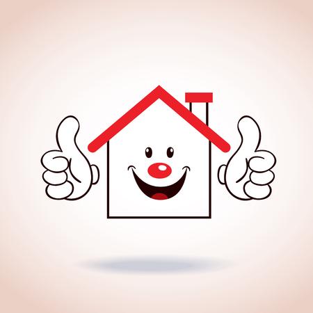 personnage de dessin animé de mascotte de symbole de Maison