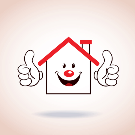 logo batiment: personnage de dessin animé de mascotte de symbole de Maison