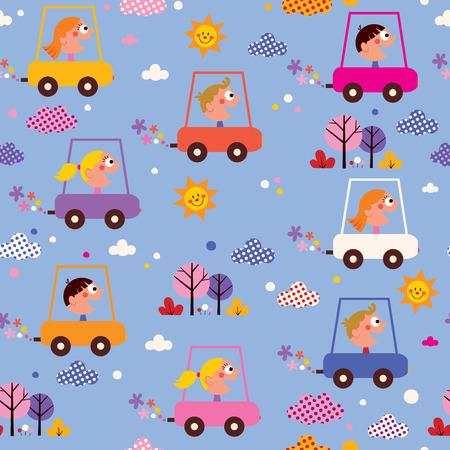 little boys: cute kids driving cars pattern