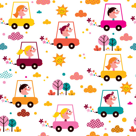 kids driving toy cars pattern
