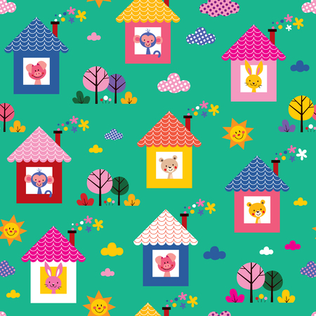 baby animals in houses kids pattern Vector