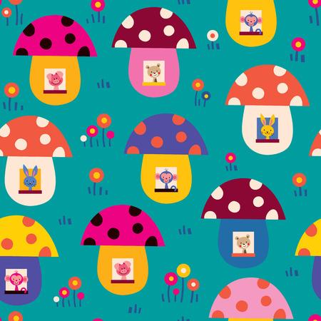 baby bear cartoon: cute animals in mushroom houses kids pattern
