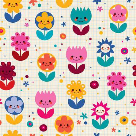 Happy cartoon flowers nature seamless pattern Vector