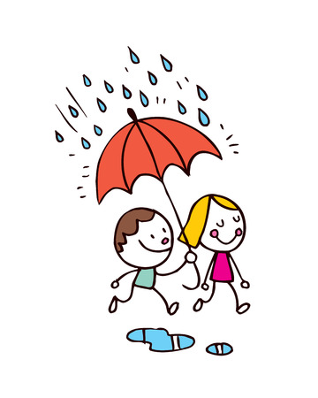 little boy and girl in the rain Vector