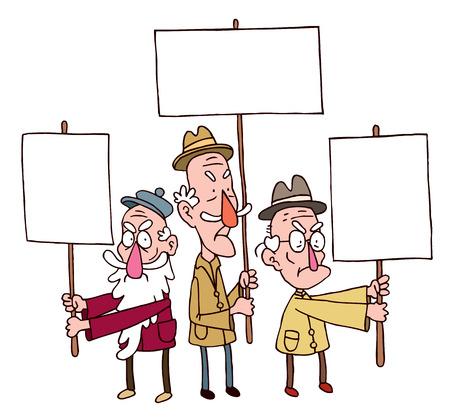 three old man protesting Ilustração