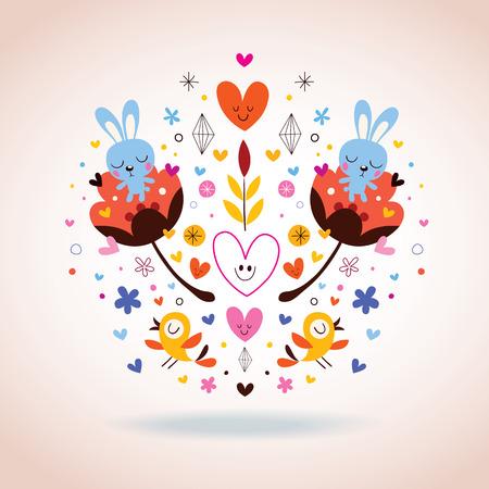 flowers, bunnies, hearts & birds Vector