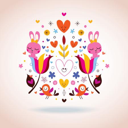flowers, bunnies, hearts & birds illustration Vector
