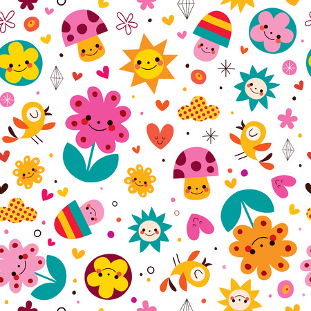 mushroom cloud: cute cartoon mushrooms, flowers, hearts & birds nature seamless pattern