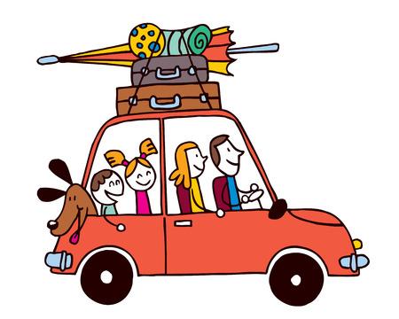 Familie von vier Urlaub, Auto mit Gepäck Reise Vektor-Illustration
