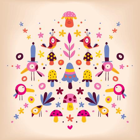 flowers, birds and mushrooms nature vector retro illustration Vector